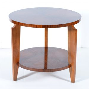 Round Art deco French side table double shelves 1940