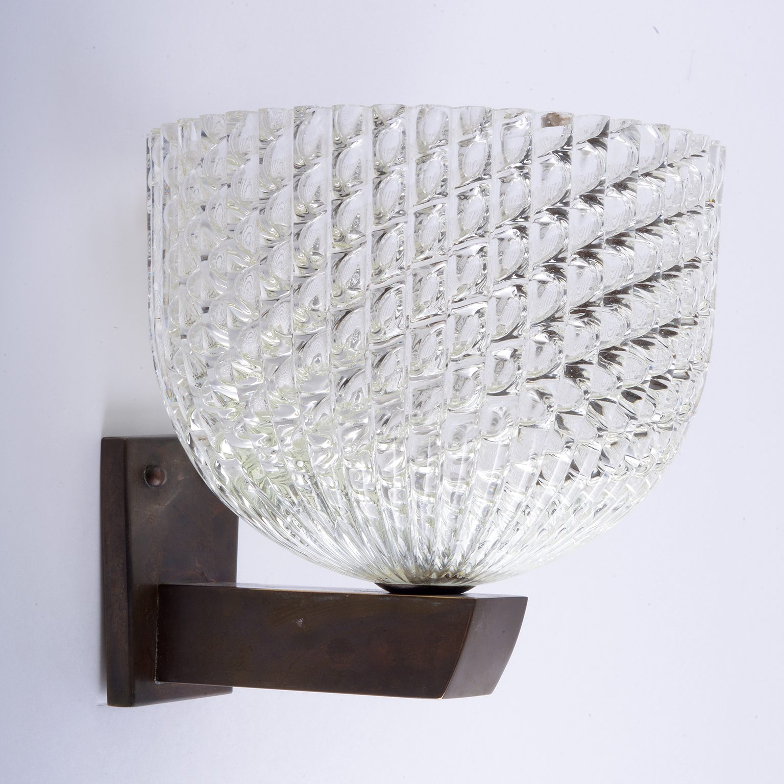 "Venini Murano "" Diamante ""glass three wall light sconces 1930"
