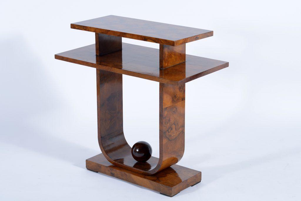 Meroni e Fossati Art Deco Italian double shelve walnut burl side table,1930 Image