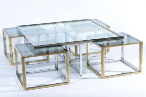 Banci Firenze mid century chrome and gold brass glass top nest coffee table 1970 Image