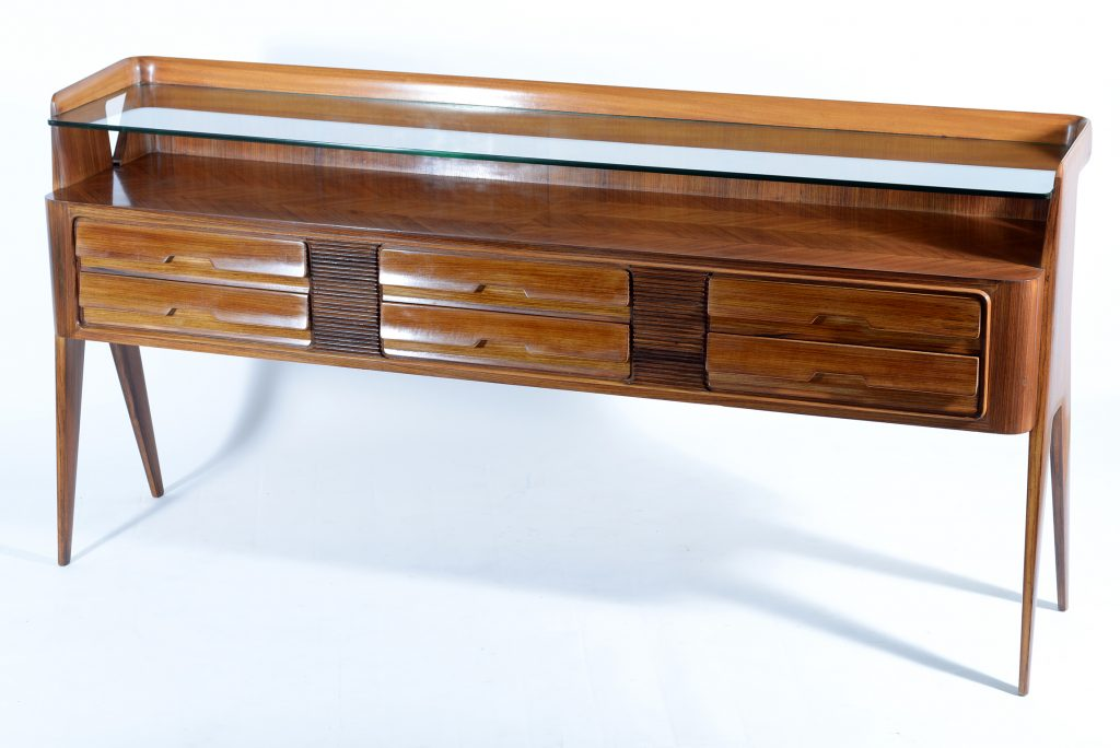 Dassi mid century consolle or chest six drawers and double thick glass shelve ,1950