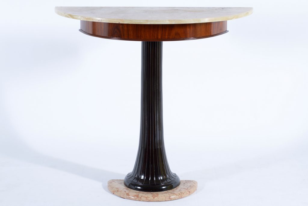 Dassi mid century italian demi lune consolle wood and mable,1950