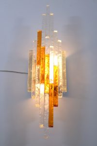Pair PoliArte Mid century italian chiseled glass wall light sconces ,1960
