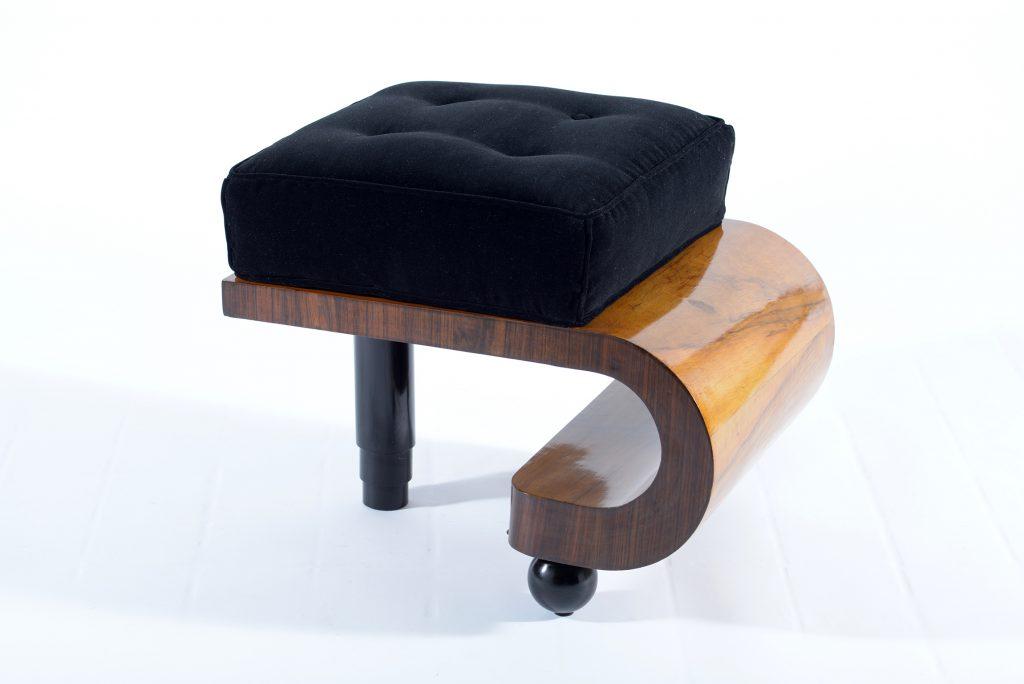 Pair of Art Deco Italian covered in black velvet stools,1930 .Coppia di Puffs Art decò in noce con seduta in velluto nero. Image