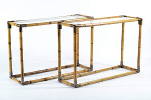 Banci Mid Century Pair of Brass and Bamboo Console , Florence Italy 1970 Image