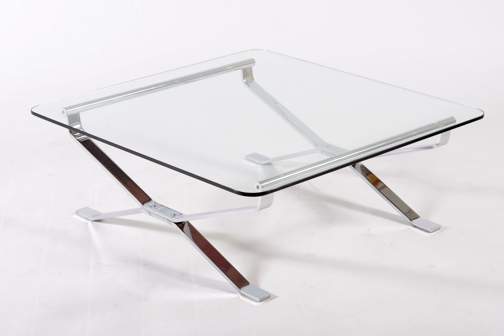 MIM Rome Mid Century Italian coffee table chrome metal and beveled glass 1960 Image