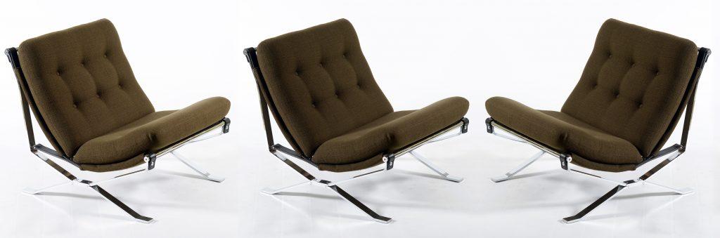 MIM Signed Three chrome metal Mid Century Italian armchairs ,1960 Image