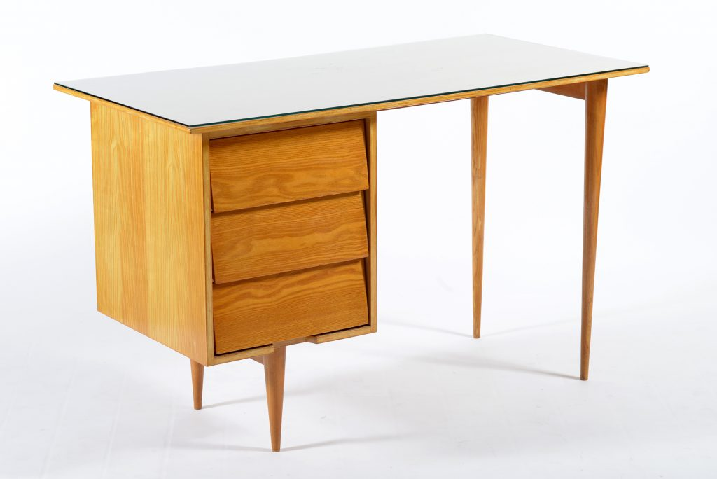 Knoll Mid Century ash wood writing desk Italy 1950