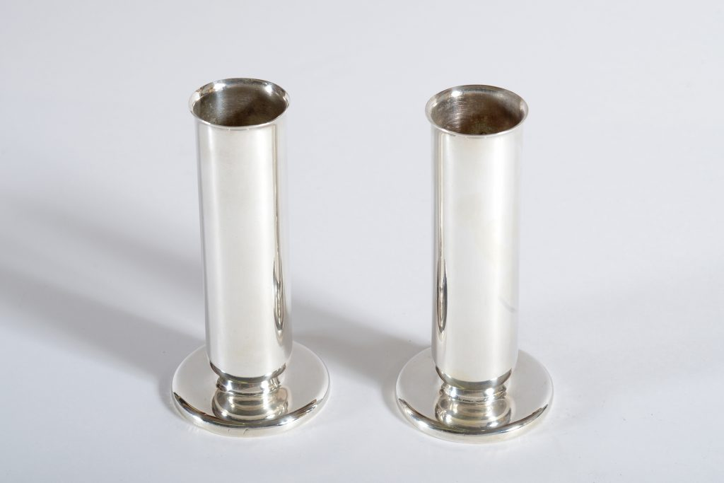 Gio Ponti for Krupp Milano Silver plate Alpacca Pair of Vase or Candlestick 30