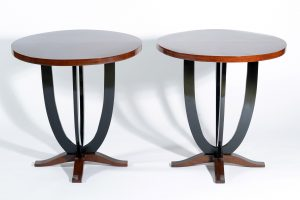 Art Deco Pair round Italian side tables 1930