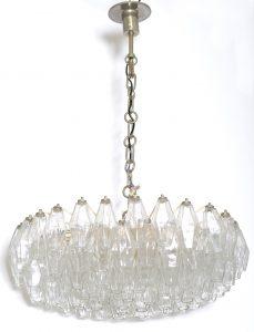 """Carlo Scarpa for Venini Mid Century Murano Glass """" Poliedri """" Chandelier ,1950"""