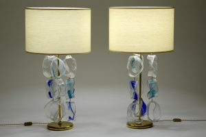 Mazzega Murano Mid Century Pair of Italian Glass and Brass Table Lamps ,1960 Image