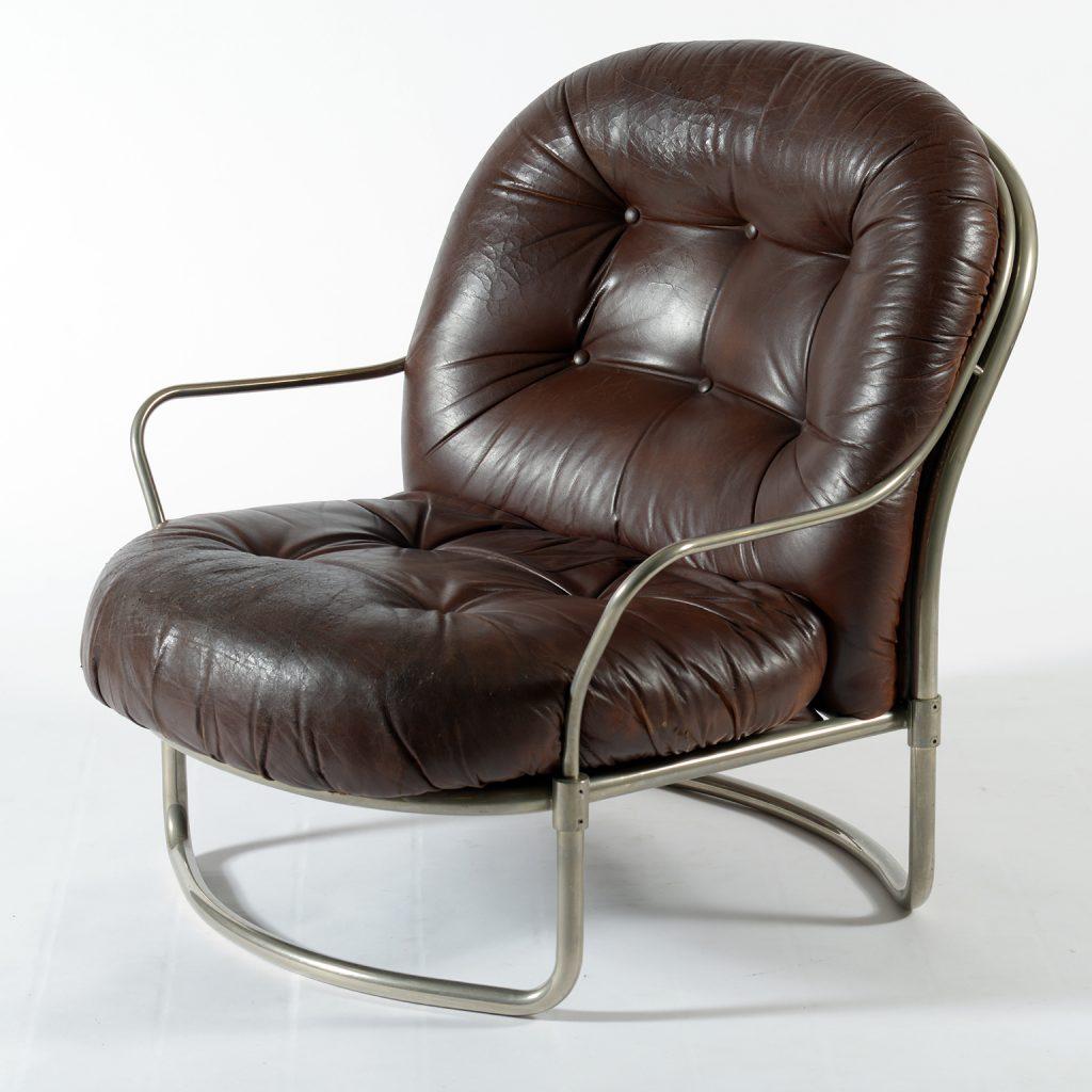 Carlo De Carli for Cinova Mid Century 915 Armchairs Original Leather Italy 1969. Poltrona con pelle originale , Carlo de carli per Cinova. Image