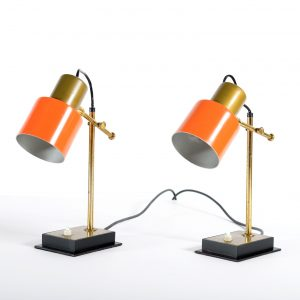 Casey e Fantin Mid Century Pair of italian adjustable Brass table lamps,1950