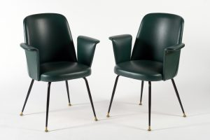 Mid Century Italian pair of chairs brass leggs Green original leatherette 1950s Image