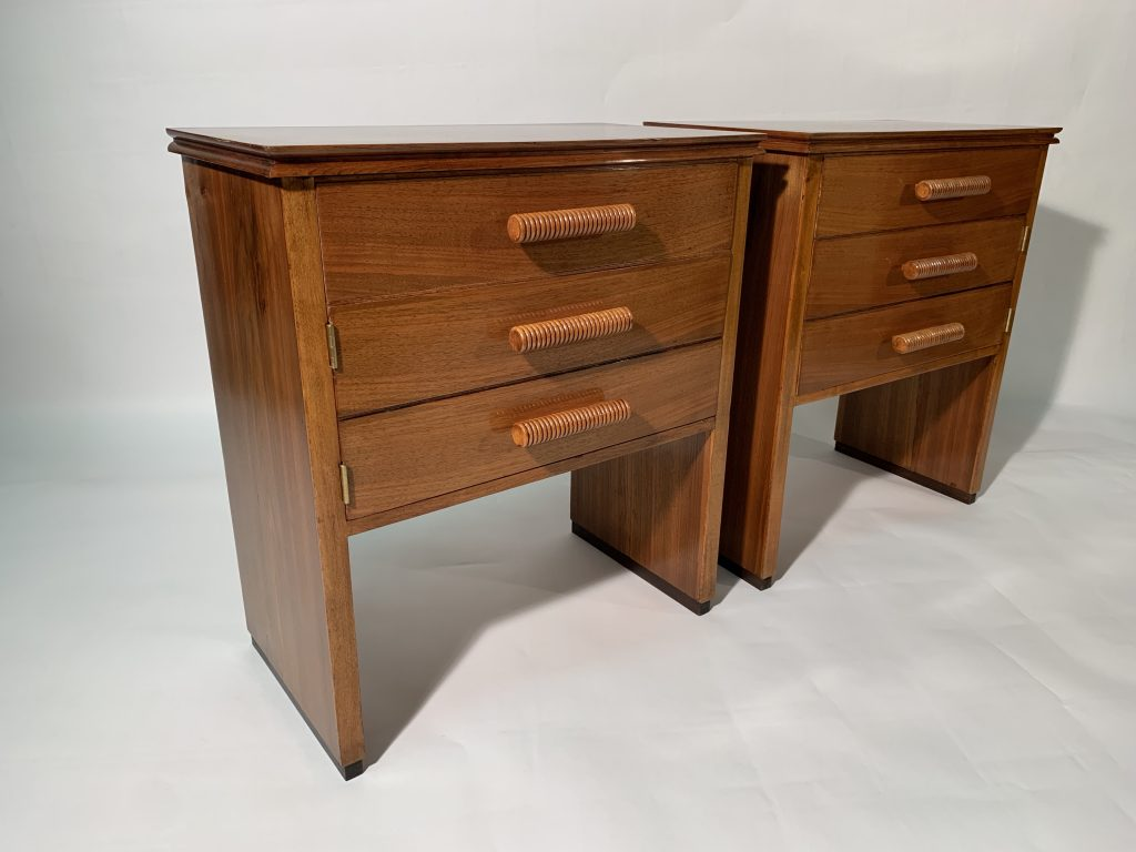 Art Deco Pair of Italian Mid Century Walnut Night Stands with a drawer and door Image