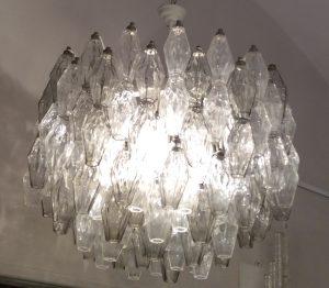 """Carlo Scarpa for Venini Midcentury Murano Glass """"Poliedri"""" Chandelier, 1950s Image"""