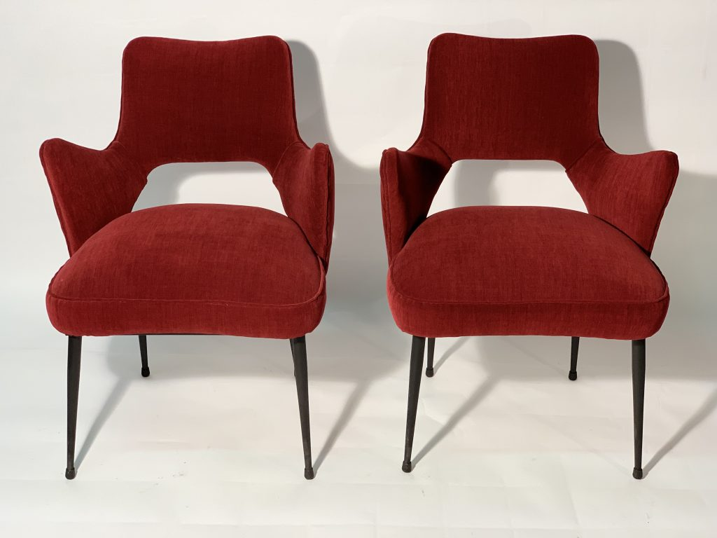Mid Century Italian Pair of Armchairs Red Fabric Black Laquered Metal Leggs 1950 Image