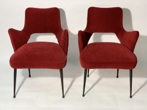 Mid Century Italian Pair of Armchairs Red Fabric Black Laquered Metal Leggs 1950 Image