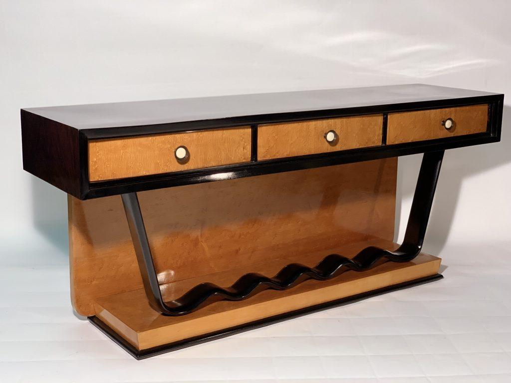 Art Deco Low Console Chest of drawer Precious Wood Brass Bakelite Handles .Consolle Decò Italiana in palissandro e acero fiorito .1930 Image