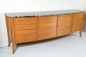 Italian Mid Century Rounded Sideboard with grooved front and marble top Image