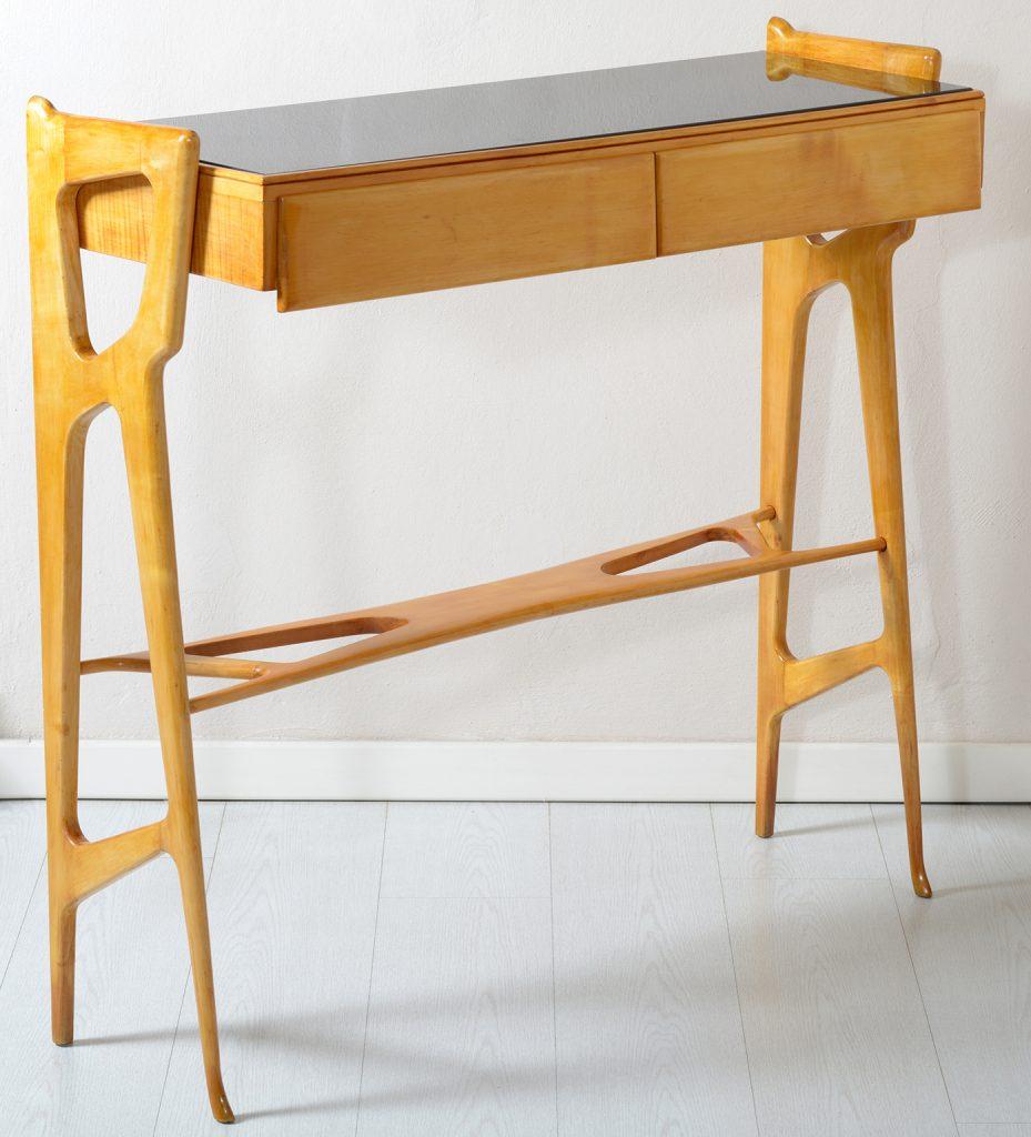 Mid Century Italian Consolle Black glass top and two Drawers .Consolle Italiana in acero massello con piano in vetro nero. 1950 Image