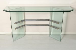 Tarsia Mid Century Italian Beveled and Grooved Thick Glass Console metal details Image