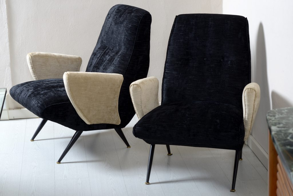 Nino Zoncada Mid Century Pair of armchair covered with double color velvet Image