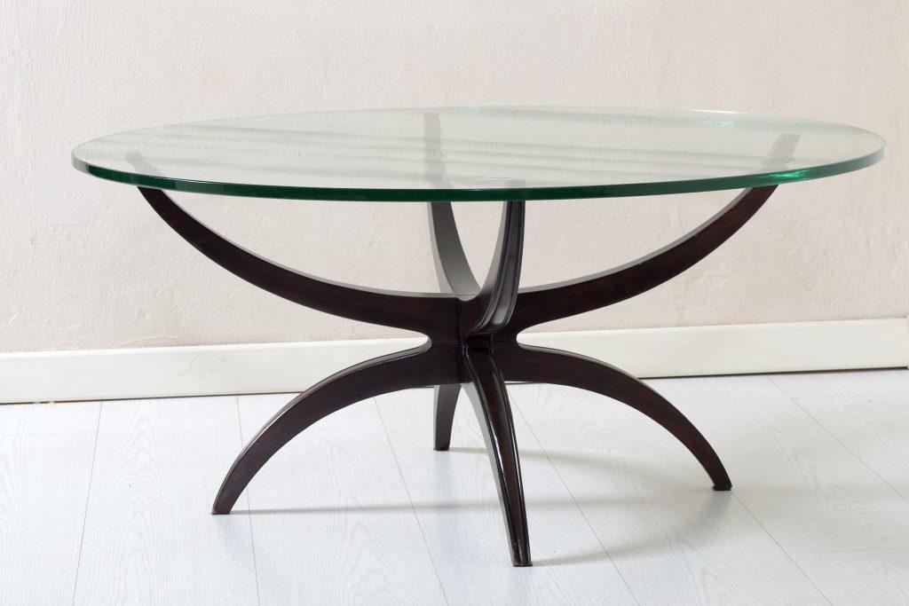 Tavolino rotondo basso da salotto,piano in vetro Image