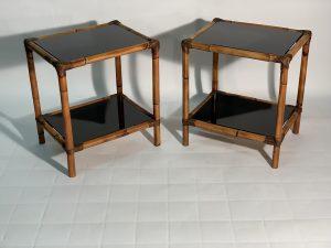 Mid Century Modern Italian Pair of Bamboo - Rattan and black glass . Coppia di tavolini in Bamboo e vetro nero. Coppia tavolini in bambù e vetro nero Image