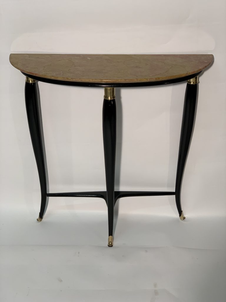 Mid Century Italian black laquered and brass consolle marble top. Image